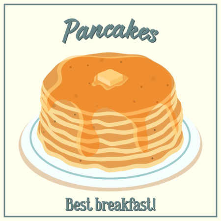 Vector illustration of a pile of pancakes. Baking with honey and butter on a plate. Breakfast concept. Ilustracja