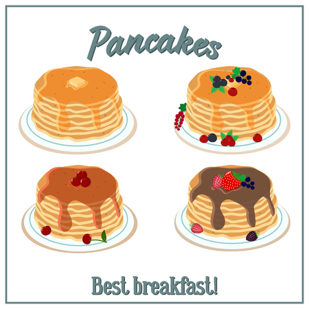 Vector illustration of a pile of pancakes. Baking with honey, chocolate, berries on a plate. Breakfast concept.