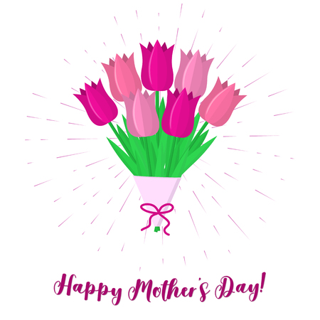 Bouquet of seven pink tulips against a background of rays. Pink ribbon with a pity with Mothers Day. Flat style, vector. Illustration