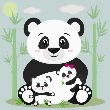 A sweet panda sits and holds a child with a bow, next to it sits another baby, he is surprised. Against the backdrop of bamboo trees, clouds and sun. Çizim