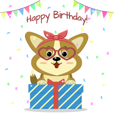 Puppy Corgi with a bow and glasses sits and holds a box with a gift on the background of confetti and flags. Happy Birthday. Illustration