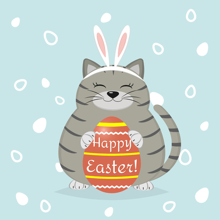 A gray cat in the rabbits ears sits and holds a red Easter egg. Happy easter. Illustration