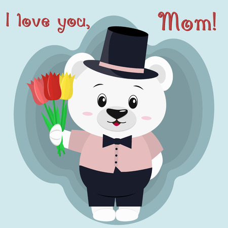 A nice polar bear holds three tulips. Congratulations on your mothers day, in the style of cartoons.