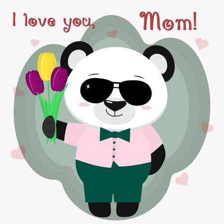 Cute panda, pink shirt, green pants and bow tie, sunglasses. He is standing and holding three tulips, a cartoon. Congratulations on Mother's Day. Vector, flat design. 矢量图像