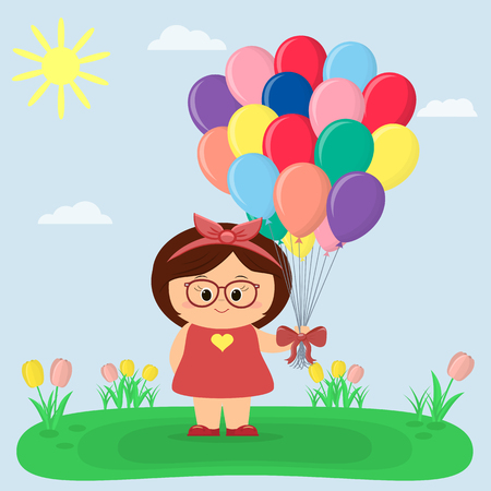 A sweet girl in a red dress and glasses keeps balloons, a glade with tulips, the sun and sky. Cartoon style, flat, vector.