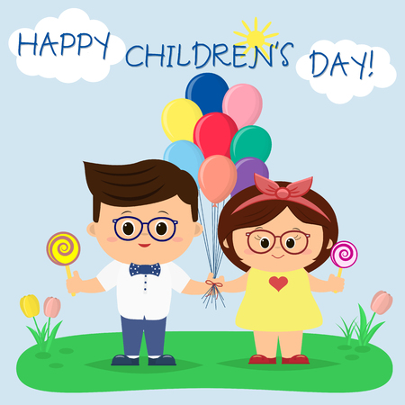 A beautiful boy and a girl in glasses is holding balloons and candies in a clearing, against the sky and the sun. Congratulation to the childrens day, in cartoon style, flat, vector.
