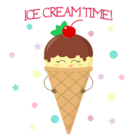 Cute smiley face of an ice cream in a waffle cone, vanilla with chocolate and cherry in the style of a cartoon against the background of the pattern and text. Vector illustration, flat.