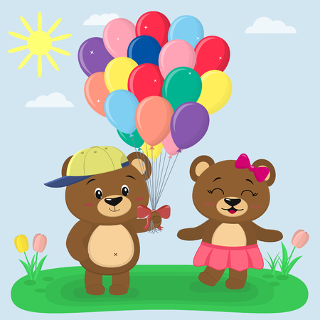 Two brown bears, a boy in a cap giving balloons to a girl in a pink skirt, in a cartoon style. They stand on a summer glade against the background of the sky . Vector, flat design. Çizim