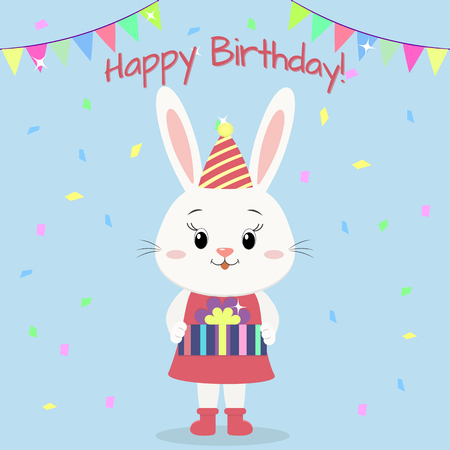 A cute white rabbit in clothes standing and holding a gift box in paws, flags, confetti. Happy Birthday. Cartoon style, apartment, vector. Illustration