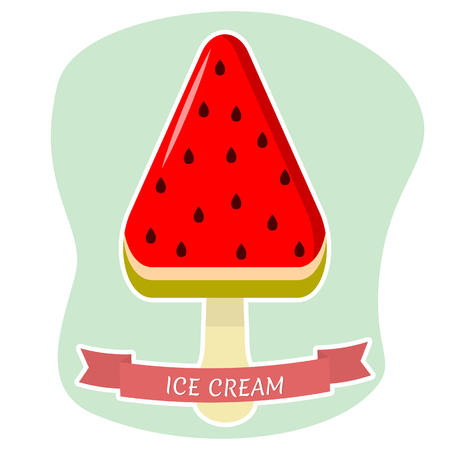 Sweet ice cream on a stick in the shape of a watermelon, a flat icon in a white stroke on a background with a red ribbon. Vector illustration.