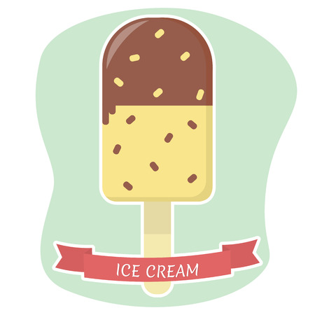 Sweet ice cream on a stick, chocolate and vanilla with a sprinkler, flat icon in a white stroke on a background with a red ribbon. Vector illustration.