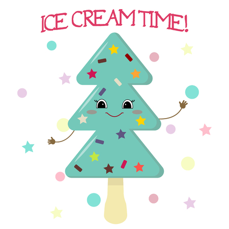 Cute ice cream smiley on a stick in the shape of a Christmas tree in the style of a cartoon against the background of the template and text. Vector illustration, flat.