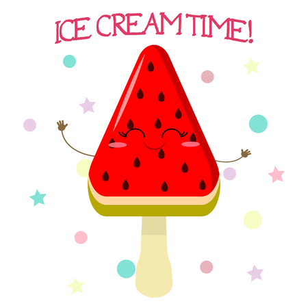 Cute ice cream smiley on a stick in the shape of a watermelon in the style of a cartoon against the background of the template and text. Vector illustration, flat.
