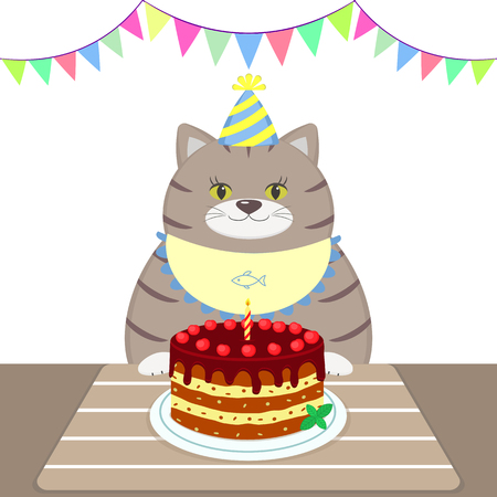 A gray fat cat in an apron and cap is sitting at the table and eating cake. Happy birthday. Cartoon flat style. Vector.
