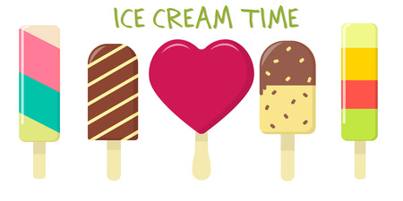A set of five different sweet ice cream on a background with text. Flat style, vector illustration. Stock Illustratie