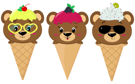 A set of three brown bears in the image of an ice cream. Sits in a waffle cone on his head glaze and ice cream with a berry, in the style of a cartoon. Flat, vector.