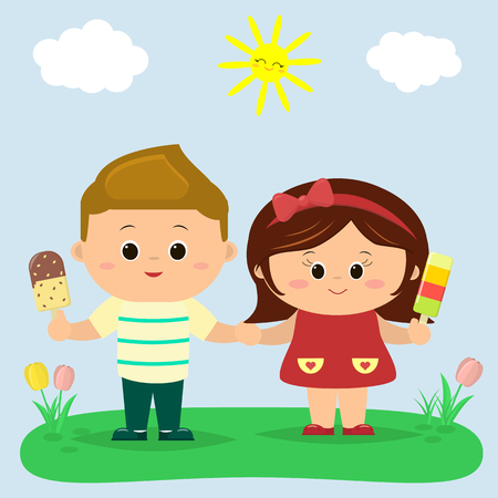 A boy and a girl are standing in a clearing and holding ice cream in their hands. Against the background of a clearing, sky and sun. In cartoon style, flat, vector.
