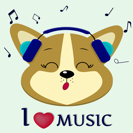 Cute dog Corgi is a musician who sings songs. Head in blue headphones with closed eyes, in the style of cartoons. Vector illustration, a flat design. Illustration