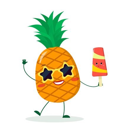 Cute pineapple cartoon character in sunglasses star in the hands of a colorful ice cream. Vector illustration, a flat style. Ilustração Vetorial