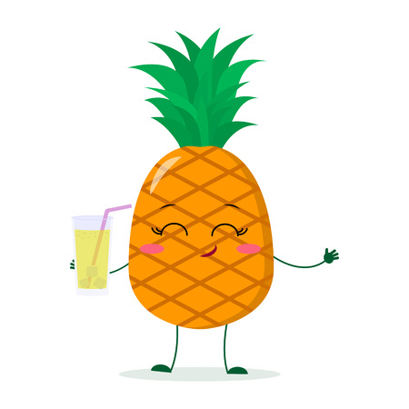 Cute pineapple cartoon character holding a glass with juice. Vector illustration, a flat style.