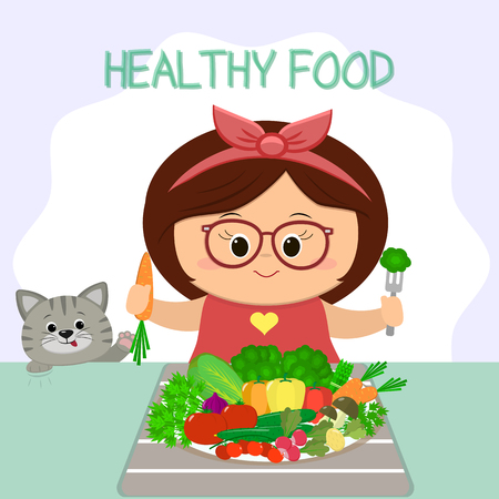 A cute girl in glasses and a bow at the table, a plate of vegetables. The cat looks out. Healthy food, organic products. Cartoon style, flat, vector.