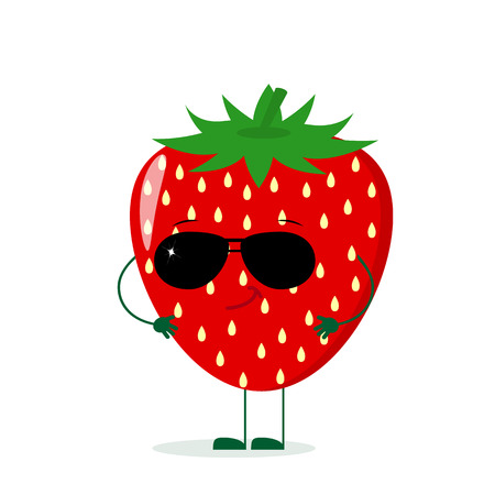 A cute Strawberry character in the style of a cartoon in sunglasses. Vector illustration, a flat style.