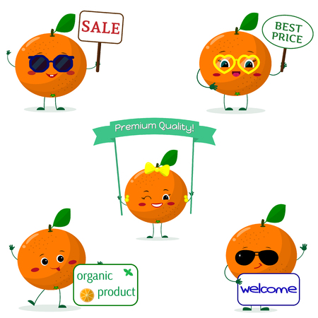 A set of five oranges Smiley in cartoon style. With different plates and glasses. Flat, vector. Stock Illustratie