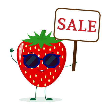 Pretty character Strawberry in sunglasses keeps the signboard welcome. Vector illustration, a flat style. Ilustração