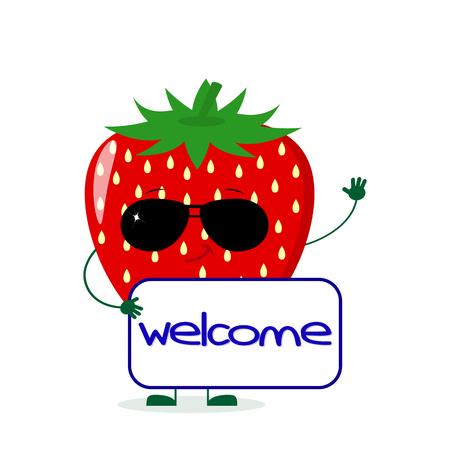 Le personnage de dessin animé mignon de fraise dans des lunettes de soleil garde un signe de vente. Illustration vectorielle, un style plat.
