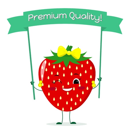 Cute Strawberry cartoon character with a yellow bow and earrings. Smiles and holds a premium quality poster. Vector illustration, a flat style.