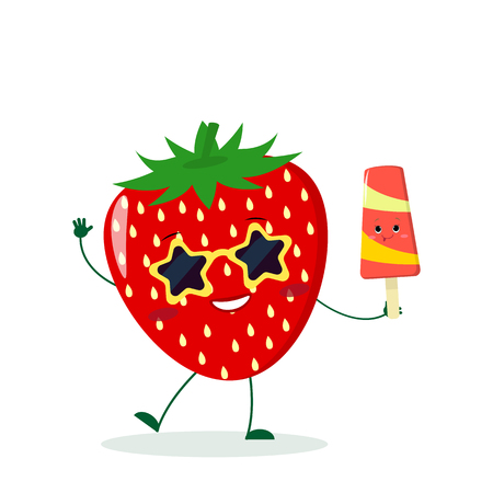 Cute Strawberry cartoon character in sunglasses star in the hands of a colorful ice cream. Vector illustration, a flat style. Vecteurs