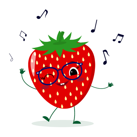 Cute Strawberry cartoon character in glasses dances to music. Vector illustration, a flat style.
