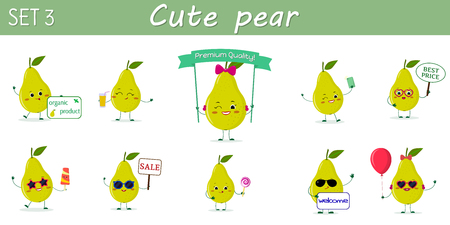 A set of ten nice green pear characters in different poses and accessories in cartoon style. Vector illustration, a flat design.