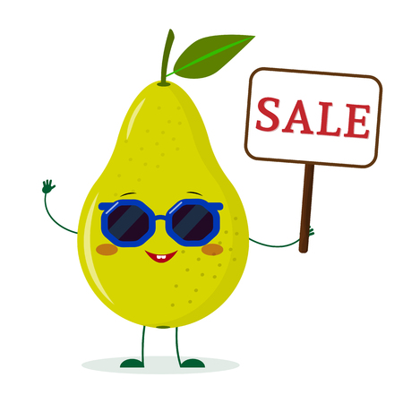 Cute pear green cartoon character in sunglasses keeps a sale sign. Vector illustration, a flat style.