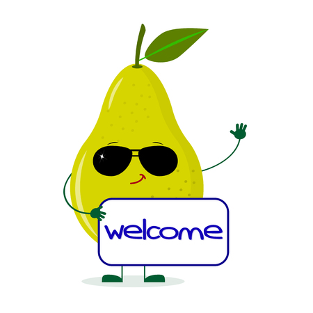 Cute pear green character in sunglasses keeps the signboard welcome. Vector illustration, a flat style.