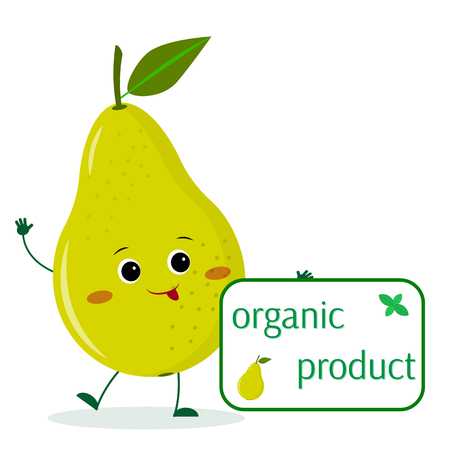 A cute pear green cartoon character holds a plate of organic foods. Vector illustration, a flat style.