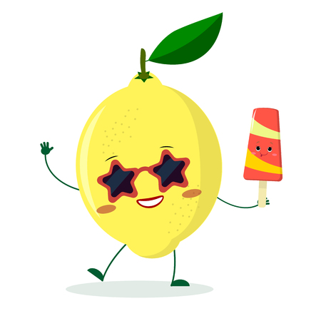 Cute lemon cartoon character in sunglasses star in the hands of a colorful ice cream. Vector illustration, a flat style.