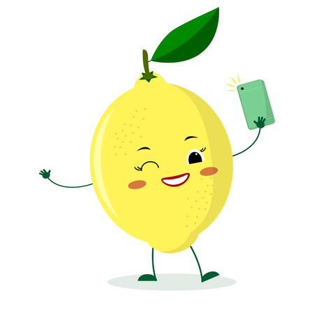 a563577b5a6a Cute lemon cartoon character with a smartphone and does selfie. Vector  illustration, a flat