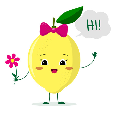 Cute lemon cartoon character with a pink bow holding a flower and welcomes.Vector illustration, a flat style. Illustration