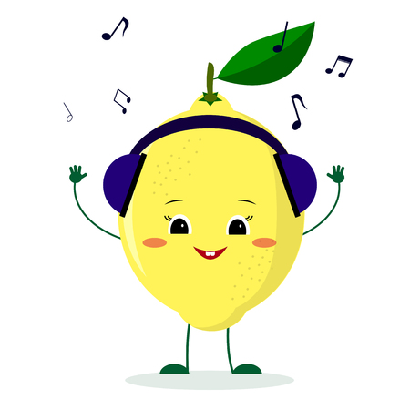 A cute lemon character in cartoon style listening to music on headphones. Vector illustration, a flat style. Illustration