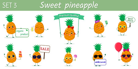 A set of ten cute pineapples characters in different poses and accessories in cartoon style. Vector illustration, a flat design.