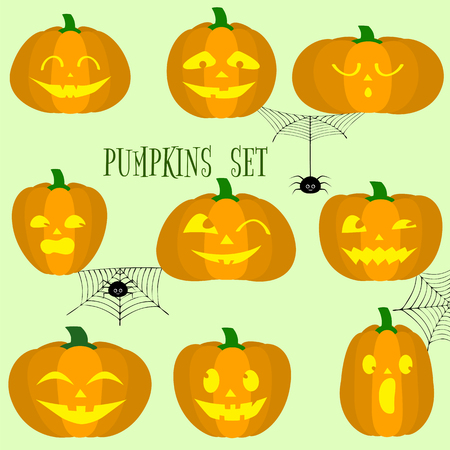 Set of halloween pumpkins, funny faces in cartoon style . Spiders and cobwebs. Autumn holidays. Vector illustration EPS10, flat. Standard-Bild - 111586357