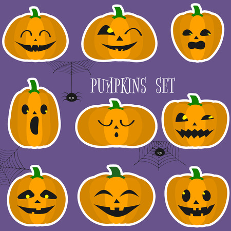 A set of Halloween pumpkins, funny faces in a cartoon style in a white stroke sticker. Spiders and cobwebs. Autumn vacation. Vector illustration EPS10, flat. Vectores