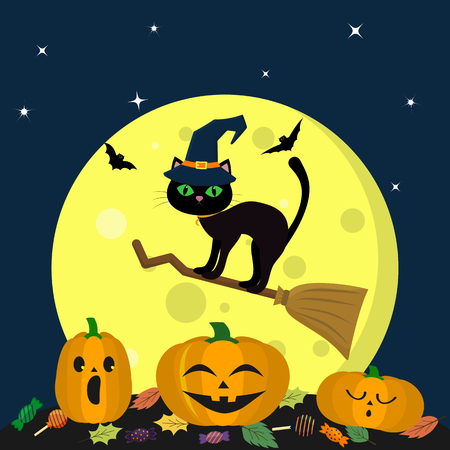 A Halloween cat in a witch hat flies on a broomstick against a full moon at night. Three pumpkin Halloween, candy and leaves, volatile vampires and stars. Autumn holiday. Vector, flat style, cartoon.