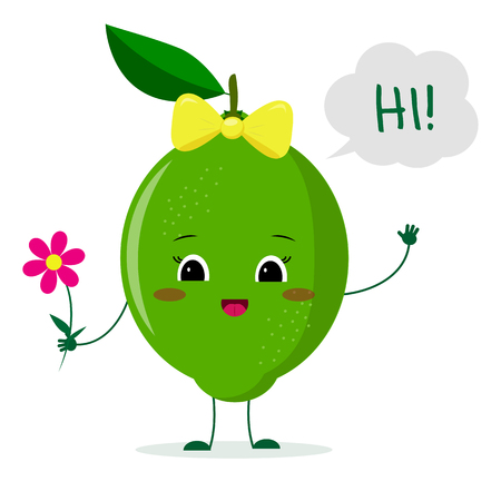 Cute lime cartoon character with a pink bow holding a flower and welcomes.Vector illustration, a flat style.