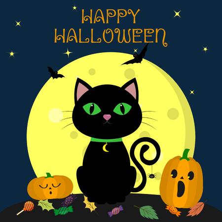 Die schwarze Halloween-Katze sitzt nachts gegen den Vollmond. In der Nähe befinden sich zwei Kürbisse, Süßigkeiten und Blätter, flüchtige Vampire und Sterne. Herbstferien. Vektor, flacher Stil, Karikatur.
