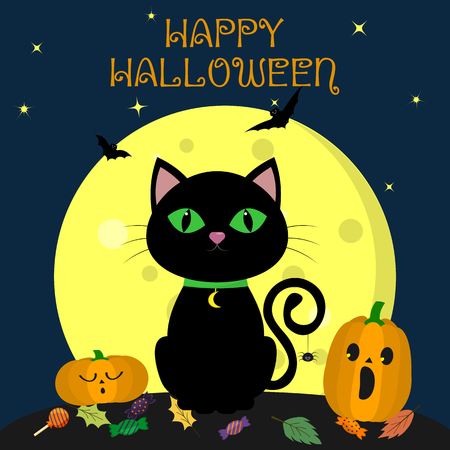 The Halloween black cat sits against the full moon at night. Nearby are two pumpkins, sweets and leaves, volatile vampires and stars. Autumn holiday. Vector, flat style, cartoon.