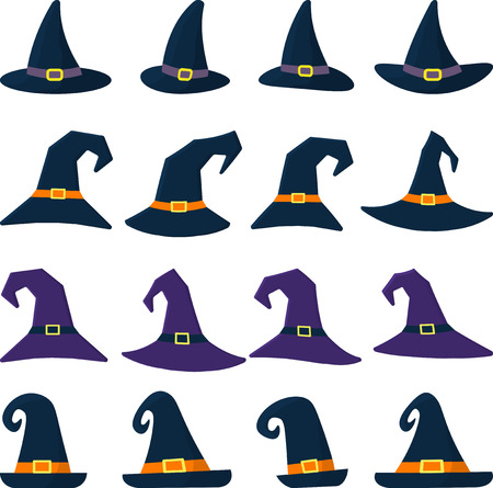 Set of sixteen different witch hat in cartoon style. Happy Halloween. Vector, flat style, cartoon.