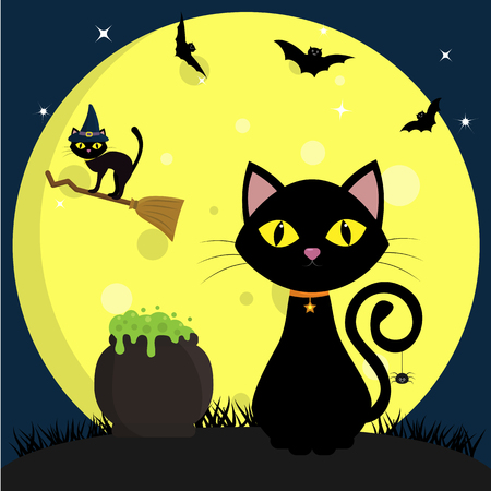 Happy Halloween. A black cat sits next to a pot of potions. Another cat in the hat of a witch flies on a broomstick, against a full moon at night. Flying vampires and stars.Vector, flat style, cartoon. Vettoriali