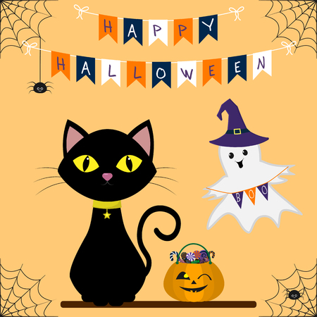 Felice Halloween. Un gatto nero è seduto. Accanto alla zucca con i dolci. Portando il cappello della strega tiene le bandiere. Bandiere e ragni con un ragno su uno sfondo arancione. Vettore, stile piatto, cartone animato. Vettoriali